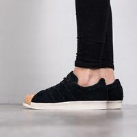 Adidas Unisex Superstar 80 S Black Suede Cork Toe Trainers Shoes Velvet UK 7