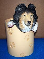 Sheltie Shetland Sheepdog Pencil Cup Holder Pawprints Dog Lover Gift