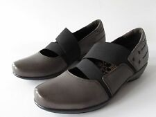 Aetrex Gray Leather  Arch Support Memory Foam Stretch Mary Jane Shoes, size 8.5