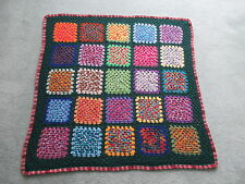 Pure Wool Crochet GRANNY SQUARE RUG Throw AFGHAN Shaded Wool  No.28