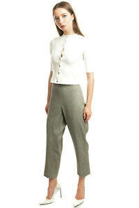 RRP €255 THEORY Trousers Size 10 / L Stretch Linen Blend Cropped Made in USA