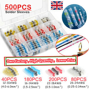 50/500x Solder Seal Sleeve Heat Shrink Butt Wire Connectors Waterproof Terminals