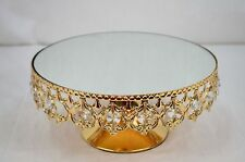 CRYSTAL BEAD CAKE PLATE (MIRROR TOP) CHAMPAGNE COLOUR