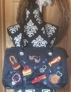 NWOT Brighton Tote Handbag Purse Black Fabric Multicolor Shoes Glasses Accent