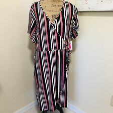 Womens Plus Size Wrap Dress Stripped Size 3X Multi Colored V-Neck
