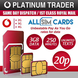 Vodafone Sim Card - New and Sealed Only 20p Pay As You Go PAYG Official SIM