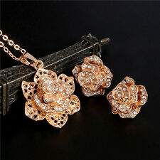 Charms Rose Flower Women 18k Gold Plated Stud Earrings Necklace Jewelry Set