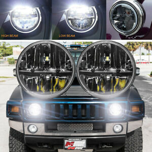 Black DOT Pair 7 Inch Round LED Headlights For Hummer H1 H2 AM General 1992-2002