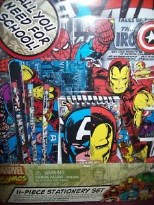 MARVEL COMICS 11-Piece Stationery Set -- ALL YOU NEED FOR SCHOOL! -- BRAND NEW