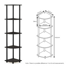 Corner Shelf Stand Display Shelves Rack Storage 5-Tier Bookcase Bookshelf Unit