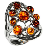 6g Authentic Baltic Amber 925 Sterling Silver Ring Jewelry N-A7356