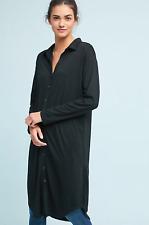 ANTHROPOLOGIE POSTMARK BLACK LONG SLEEVE MAXI BUTTON DOWN TUNIC DRESS TOP Sz XS