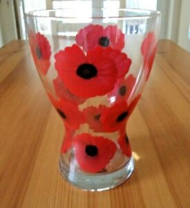Hand Painted Red Poppy Vase