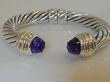 $1550 DAVID YURMAN 14K GOLD SS AMETHYST BRACELET 10mm.