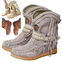 Women Fringed Moccasin Booties Casual Flat Short Boots Low Heel Shoes Outdoors