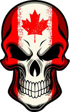 "#314 4"" USA Canada Canadian Hockey Flag Skull Sticker Decal Maple Leaf"