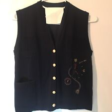 ASPA Lady-Strick Womens XL Germany Knit Sweater Vest Clock Alice In Wonderland