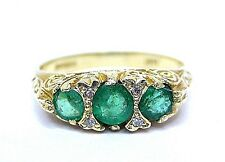 Vintage Emeralds 0.55ct & Diamonds 0.08ct. Band Ring Yellow Gold 18Carat. Size M