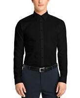 Calvin Klein Men's Slim Fit Point Collar Dress Shirt, Black, Size 16.5 32/33