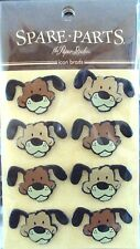 The Paper Studio Spare Parts Dogs Puppy Faces Brads, NEW