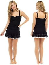 Ladies new black cut work swim dress with tummy control sizes 10 to 22