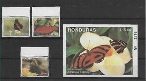 HONDURAS 1992 BUTTERFLIES INSECTS SET OF 3 +  SOUVENIR SHEET SCOTT 370/73
