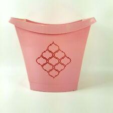 Vintage Schwarz Bros Scalloped Square Flamingo Pink Plastic Bath Waste Basket