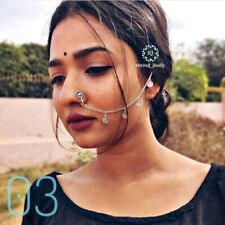 Jewels Traditional Handmade Silver Plated Nose Ring/Nath with Chain for Women