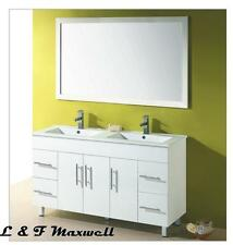 BATHROOM VANITY WITH THIN Double BASIN AND GLOSS DOORS 1500x460mm