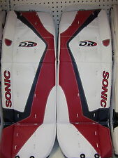 "New DR X5 Jr. ice hockey goalie pads White/Blue/Red 28"" inch junior goal leg pad"