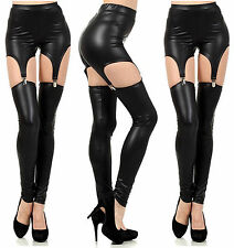 Women Sexy Lingerie PVC Leather Cut out Garter Clip Suspender Leggings Pants