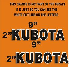 "2- KUBOTA BLACK & WHITE OUT LINE Vinyl Decals Stickers 2 "" X 9"" EACH"