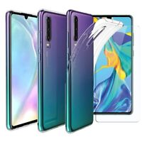 For Huawei P30 Case Clear Slim Gel Cover & Glass Screen Protector
