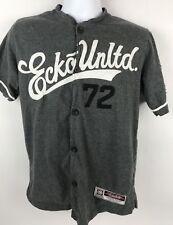 Mens Ecko Unltd 72 Baseball Style Shirt S Small Gray White lots of embroidery