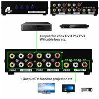 4 Port AV Switch Box Audio Video RCA 4 Input 1 Output TV HDTV Composite Selector