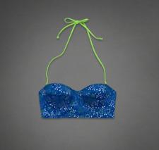 ABERCROMBIE & FITCH Women's Swimwear Bikini Blue Pattern Top Size L