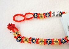Nwt Lucia'S Beads Imports Beaded Flower Bracelet Toggle Red Gold Black Guatemala