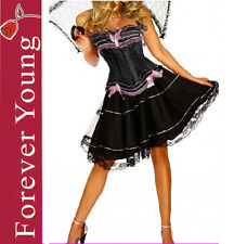 Burlesque Moulin Rouge Fancy Dress Can Can Girl Outfit Costume UK 8 10 12 14