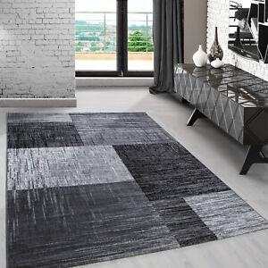 Teppich Designer Modern Wohnzimmer Kariert Design Meliert Grau Schwarz Oeko Tex