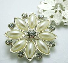 4 Sparkling 30mm Crystal/Rhinestone Silver Metal Pearl Shank Buttons N035
