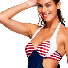 Halterneck Swim wear 2 Piece Tankini Bikini Set Navy Red Striped -UK12 - 38A,B&C