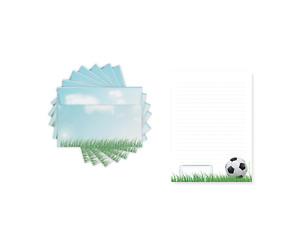Kinder Briefpapier Fußball, Briefpapier Set mit Fussball, A5 Block&Umschlag