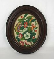 Antique 19th Century Theorem Painting Flowers and Butterfly Oval Frame