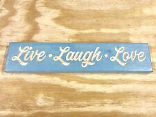 "Hand Made Engraved Wood ""Live Love Laugh"" Sign Vintage Aqua!"