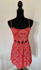 H&M Red Paisley Cut Out Waist Mini Dress Size 10 Strap Festival Boho