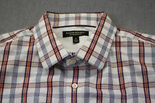 Banana Republic Mens White Blue Orange Plaid Checker Slim Button Dress Shirt  XL