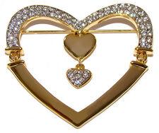 Broche Coeur Cadeau St Valentin deux COEURS Broche decoree strass stile faberge