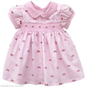 Baby Girls Smocked Bicycle Peter Pan Collar Traditional Pink Summer Dress 12-24M