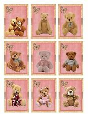 Teddies On Pink Glossy Finish Card Toppers - Crafts Embellishment
