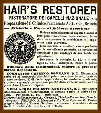 PUBBLICITA' 1930 RISTORATORE CAPELLI  HAIR'S RESTORER FARMACIA GRASSI BRESCIA